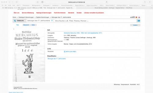 Screenshot der Seite http://brema.suub.uni-bremen.de/zeitungen17/periodical/titleinfo/993557 – abgerufen am 30.05.2015