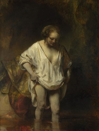 Rembrandt, 1606 - 1669 A Woman bathing in a Stream (Hendrickje Stoffels?) 1654 Oil on oak, 61.8 x 47 cm Holwell Carr Bequest, 1831 NG54 https://www.nationalgallery.org.uk/paintings/NG54